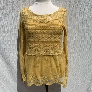 Sundance Lace Mustard Top with Cami S